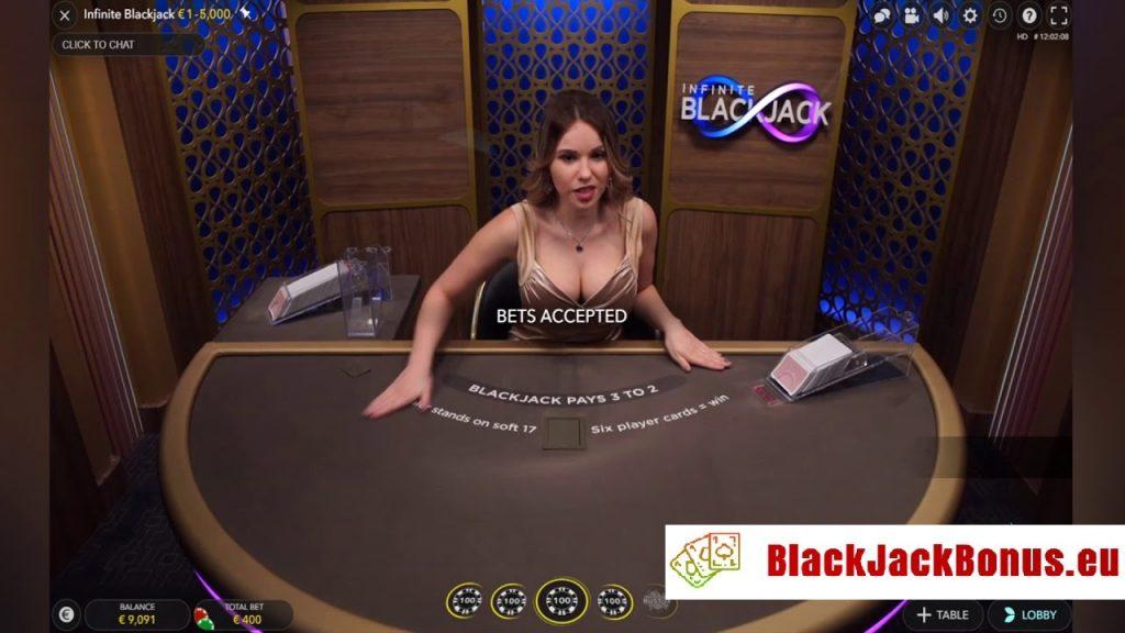 Infinite Blackjack - Låga insatser och oändliga platser runt Evolution bordet